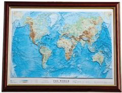 Physical World Map Framed